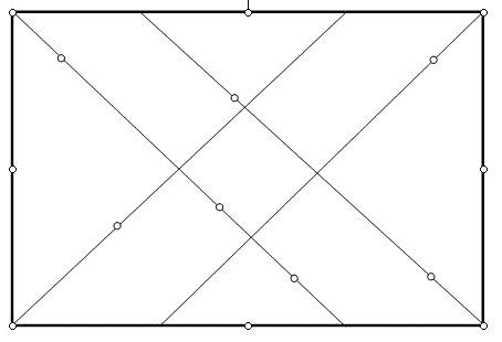 4 diagonalen en stippen op lijnen © Diagonaalmethode.nl