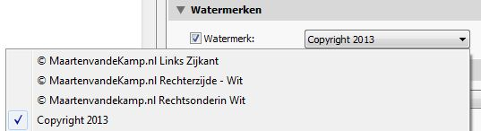 Adobe Lightroom Photo Export - Watermerken selecteren