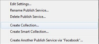 Adobe Lightroom Publish Services - Facebook New Collection