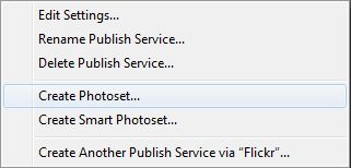 Adobe Lightroom Publish Services - Flickr Create Photoset