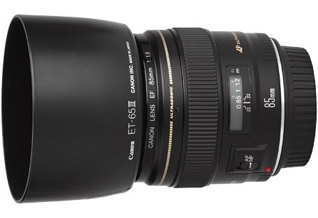 Canon EF 85mm f/1.8 USM Lens met Canon ET-65III