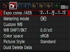Canon EOS 500D Menu Tab 2