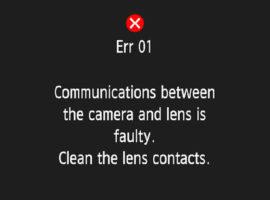 Toont Canon EOS-camera Foutcode 01 - Communicatie tussen camera en objectief verbroken