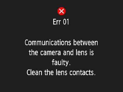 Toont Canon EOS-camera Foutcode 01 - De communicatie tussen de camera en het objectief is verbroken