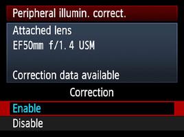 Canon Peripheral Illumination Correction