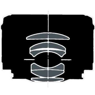 De horizontale streepjes duiden de positie van het diafragma in dit objectief aan.
