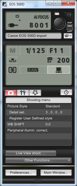 EOS 500D - Canon EOS Utility