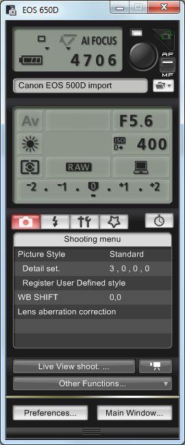 EOS Utility - EOS 650D - Overzicht