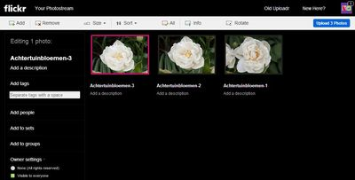 Upload foto's naar Flickr