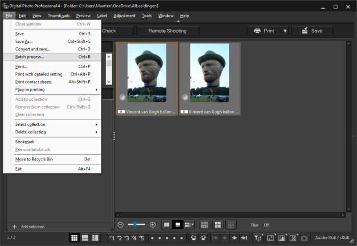 Toont Canon Digital Photo Professional 4 met het File menu geopend