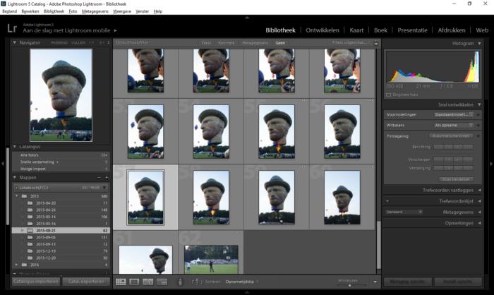 Er is een foto geselecteerd in de bibliotheekweergave van Adobe Photoshop Lightroom