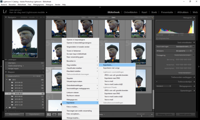 Het omzettenmenu is geopend in Adobe Photoshop Lightroom
