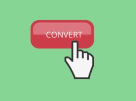 Toont een knop met de tekst Convert