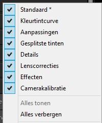 Je ziet hier een lijstje met opties die je op het tabblad Ontwikkelen (Develop) kunt in- en uitschakelen in Adobe Photoshop Lightroom.