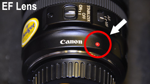 Het rode puntje op het objectief geeft aan dat dit een Canon EF objectief is.