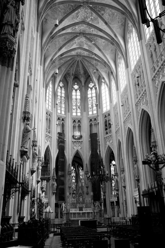 Sint-Janskathedraal in zwart-wit met hoog contrast