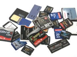 Allerlei verschillende geheugenkaarten