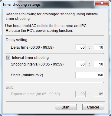 Timer Shooting Settings