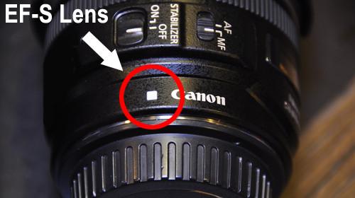 Het witte vierkantje geeft aan dat dit een Canon EF-S objectief is