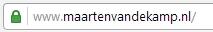 Je ziet hier het slotje bij de website maartenvandekamp.nl wat aangeeft dat het internetverkeer versleuteld wordt