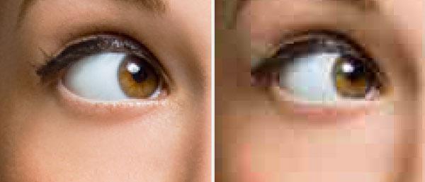 Het verschil in kwaliteit van een originele foto (links) en een gecomprimeerde JPEG versie van de foto (rechts)