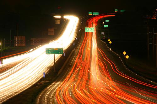Lange sluitertijd snelweg