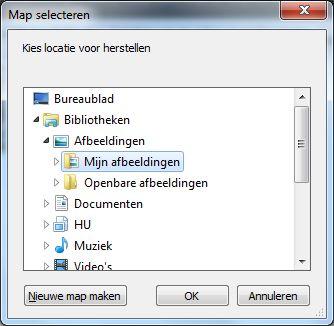 Locatie voor herstelde bestanden kiezen